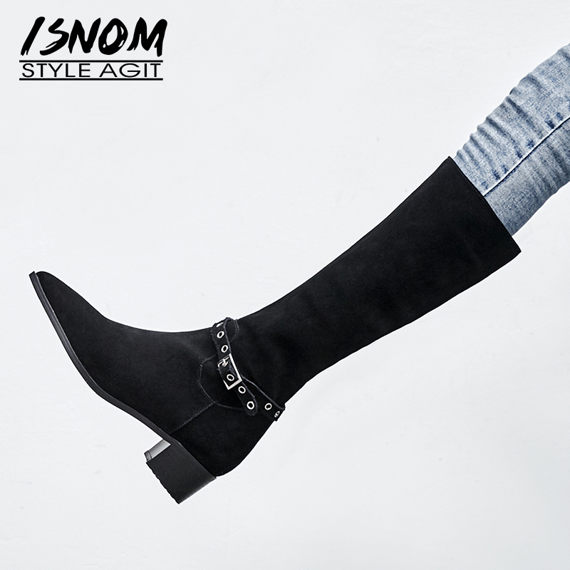ISNOM Plus Size 43 Cow Suede Thick Heels Women Boots Pointed Toe Zip Footwear Knee High Female Boot Shoes Woman 2018 Winter NewISNOM Plus Size 43 Cow Suede Thick Heels Women Boots Pointed Toe Zip Footwear Knee High Female Boot Shoes Woman 2018 Winter New