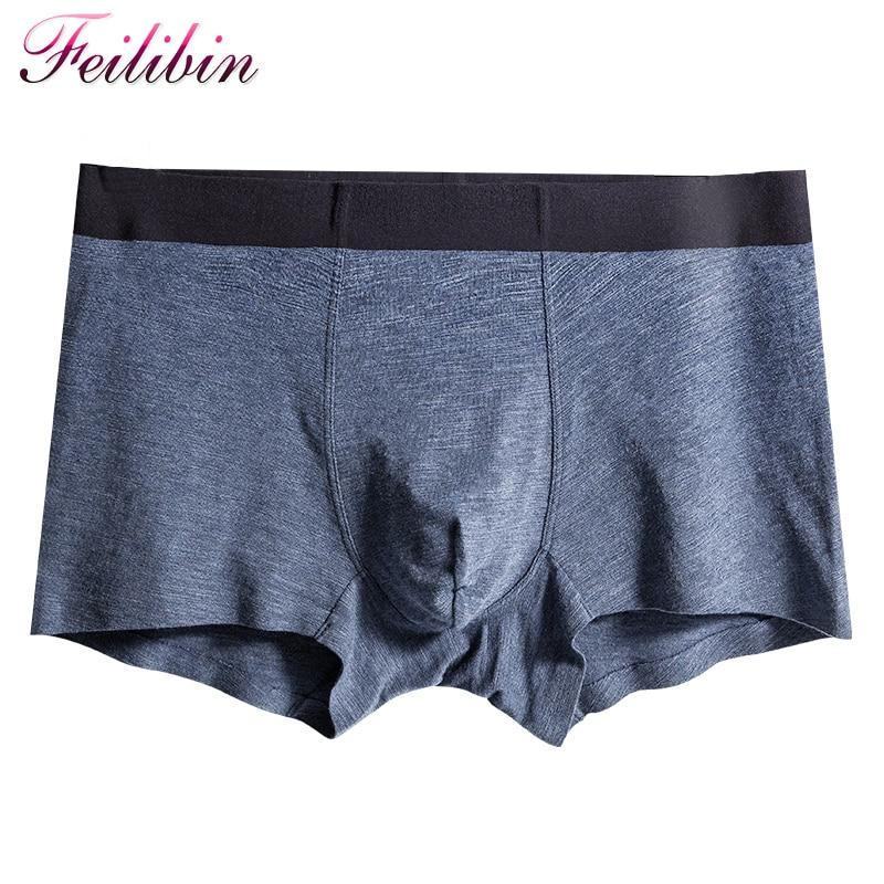 Feilibin Boxers Men Seamless XXXL Underwear Shorts U Convex Modal Cotton High-Quality