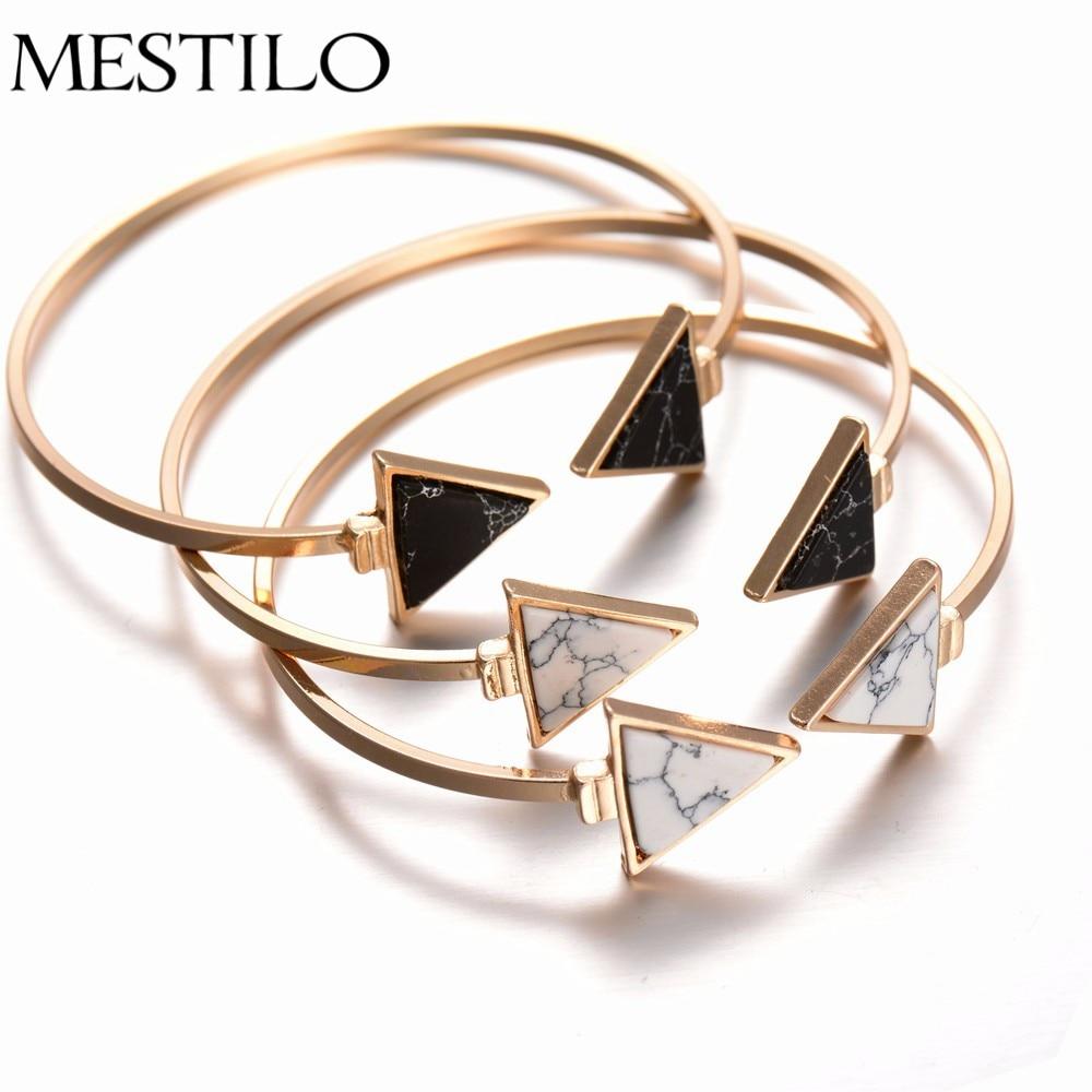Mestilo Gold Black Open Cuff Bracelet Bangle Marble Stone