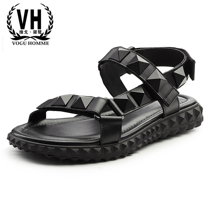 cowhide sandals men's summer outdoor breathable Sneakers Men Slippers Flip Flops casual Shoes beach outdoor Genuine Leather