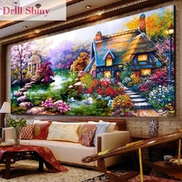 CNA 5D DIY Diamond Painting European Garden House Mosaic Cross Stitch Round Rhinestone Landscape Embroidery Home
