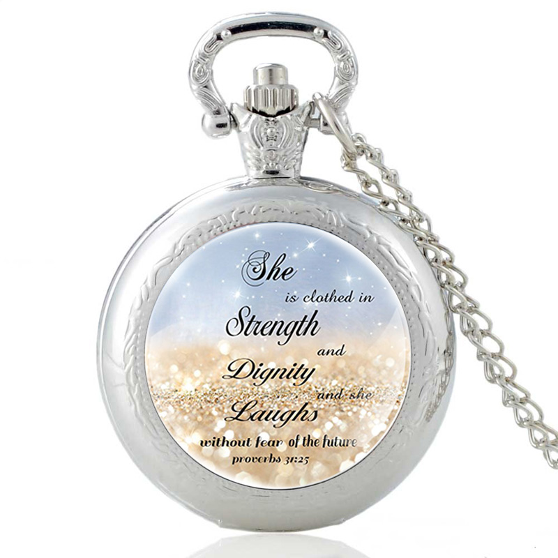 She Is Clothed In Strength And Dignity And She Laughs Without Fear Of The Future Bible Verse Silver Vintage Quartz Pocket Watch