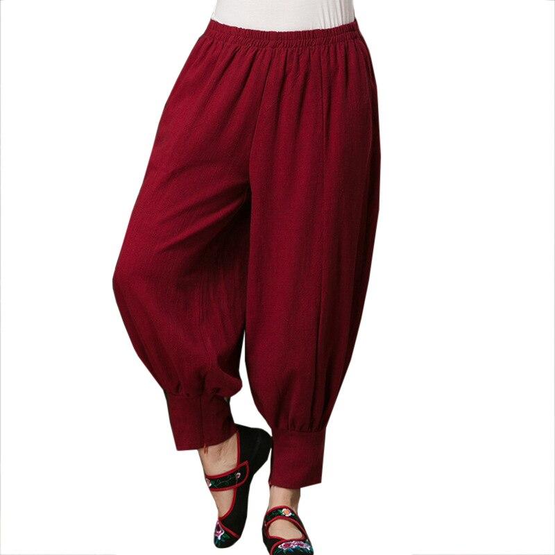 Burgundy Cotton Linen Chinese Style Women Pleated Trousers 2017 Autumn   Wide     Leg     Pants   Leisure Loose Long   Pant   L-XL