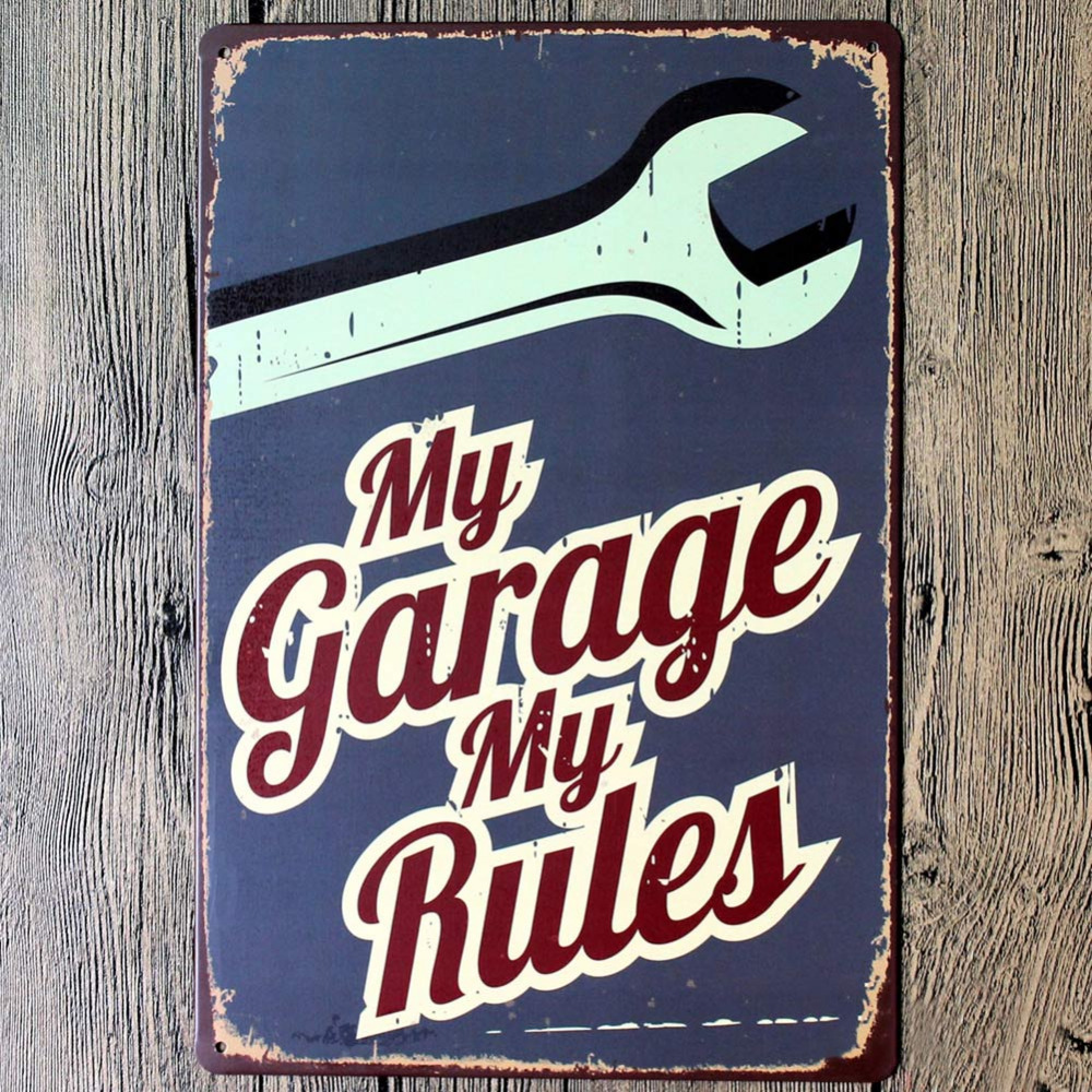 My Garage Rules Cool Home Decoration Wall Decor Art Stickers Decalsmetal Tin Signs Plate Painting New