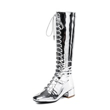 women fashion women square low heel boots lady cross-tied mirror surface patent leather shoes ladies runway short shoe