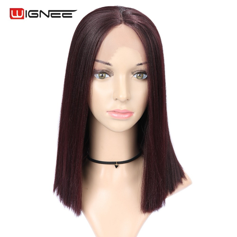 Wignee High Temperature Lace Front Synthetic Wig For Women Middle Part Straight Hair Bob Styles Mixed Brown/99J Natural Hair Wig