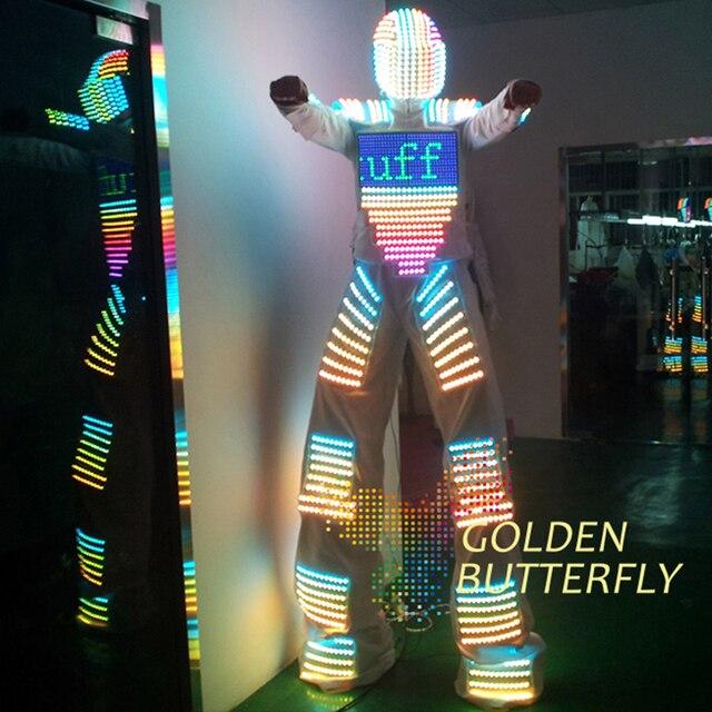 LED Vêtements Lumière Costumes LED Robot Costume Casque Lumineux Pilotis LED Vêtements Hommes Vêtements Avec Salle De Bal Mécanique De Danse