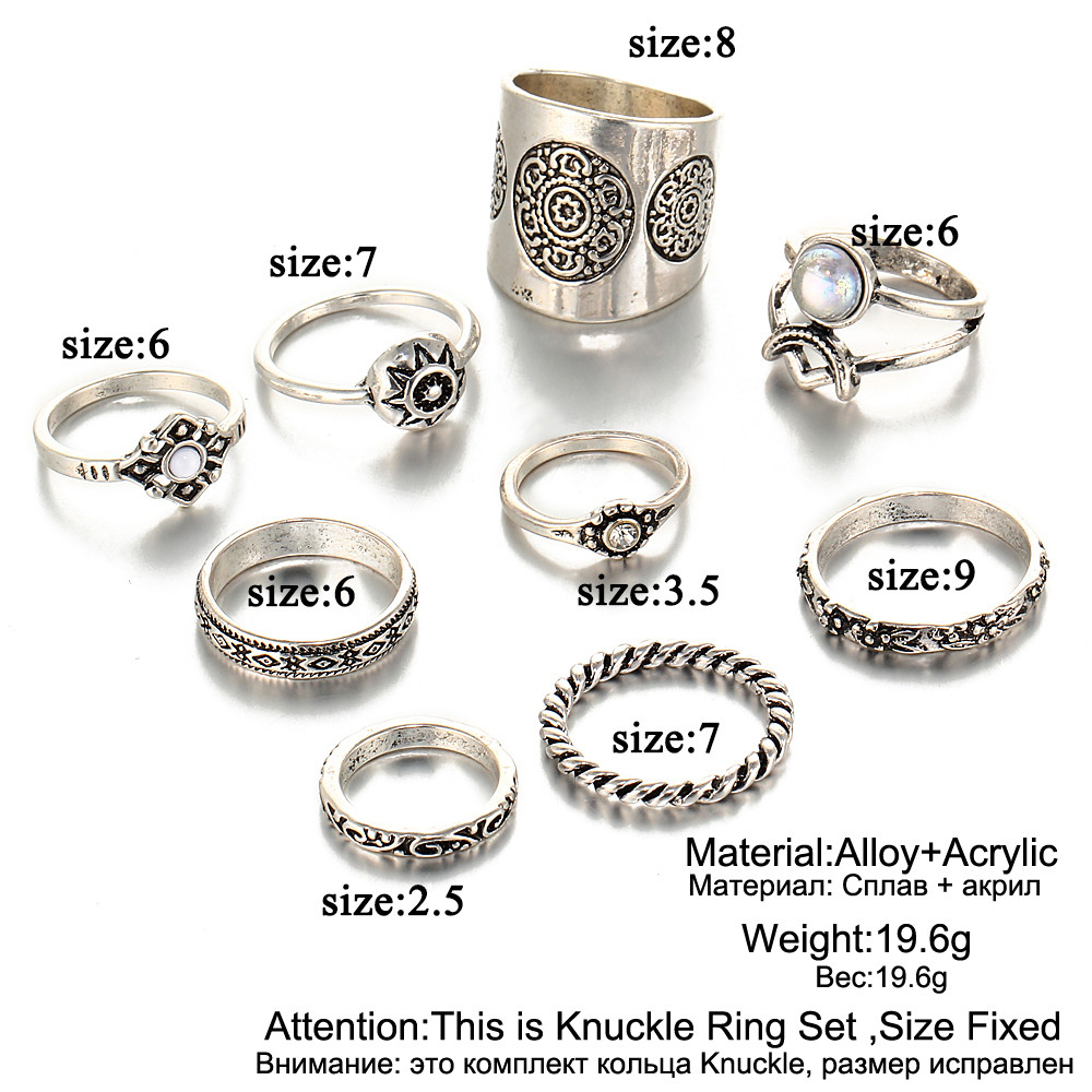 HTB1eZfcRFXXXXafXXXXq6xXFXXXU 9-Pieces Antique Style Turkish Knuckle Ring Set For Women - 2 Colors