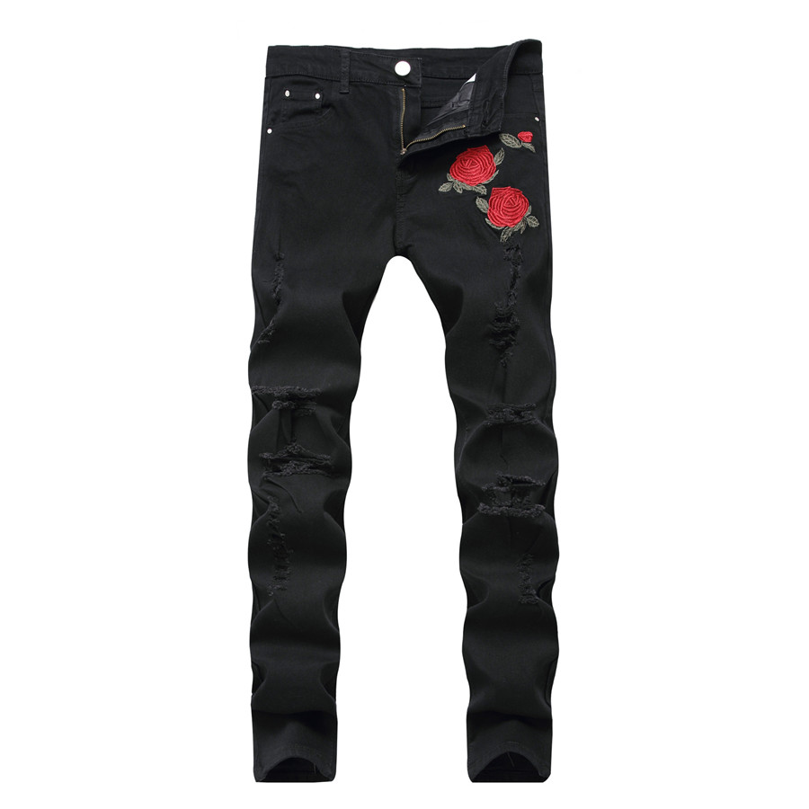 Black Ripped Jeans with Embroidery Men with Flowers Rose Embroidered Men's Denim Jeans Stretch Skinny Jeans Pants