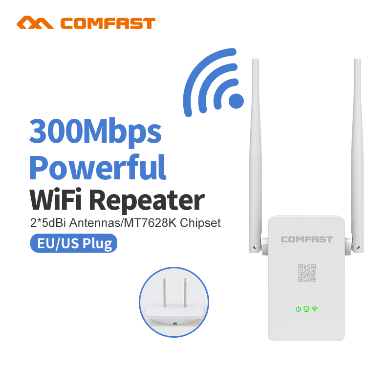 White Comfast 300M WiFi Amplifier Router Wireless Repeater Network Wi fi Extender 10dBi antenna WI FI