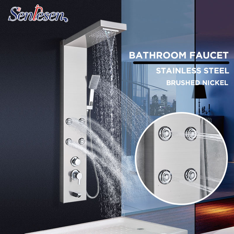Senlesen Shower Column Panel Thermostatic Valve Rain Waterfall Shower Head Massgae Shower System Para Bathroom Shower Douche Bathroom Fixtures