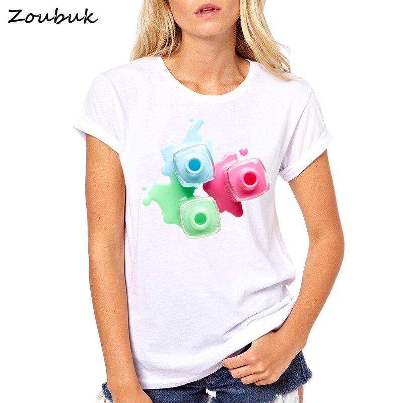 New Women's T-shirt Nail Polish Perfume Lipstick Print T-Shirts Woman Tops Summer Female T Shirt Short Sleeve casual Clothing