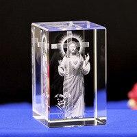 Jesus K9 Crystal 3D Laser Statue Sculpture Inter engraving Figurines Miniatures Crystal Arts Crafts Jesus Ch Home Decor
