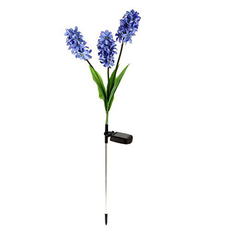 Solar Powered 3 Hyacinth Flower 9 LED Lamps Power Frugal Waterproof Lights Ni-MH Battery ...