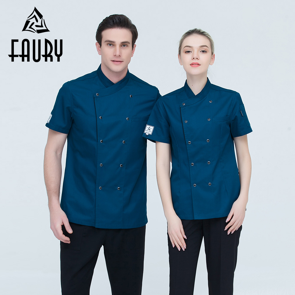 Unisex Restaurant Chef Coats Short Sleeve Summer Casual Double Breasted Kitchen Cooking Work Wear Hotel Waiter Uniforms Jackets
