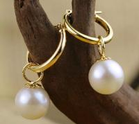 Perfect 11mm Perfect Round White Australia South Sea Pearl Dangle Earring