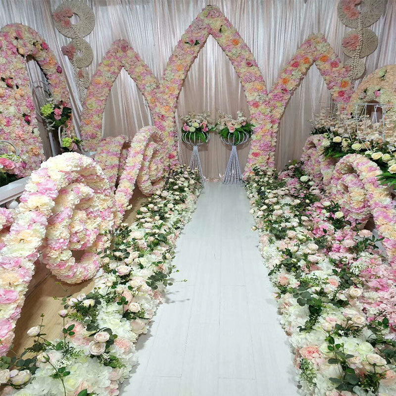 Flower Arch For Wedding: Artificial Silk Flower Wedding Road Lead Hydrangea Peony