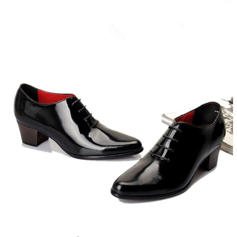 Мужские туфли из лакированной кожи на шнуровке, визуально увеличивающие рост; дизайнерские туфли с острым носком на высоком каблуке; повседневные туфли оксфорды, увеличивающие рост - 3