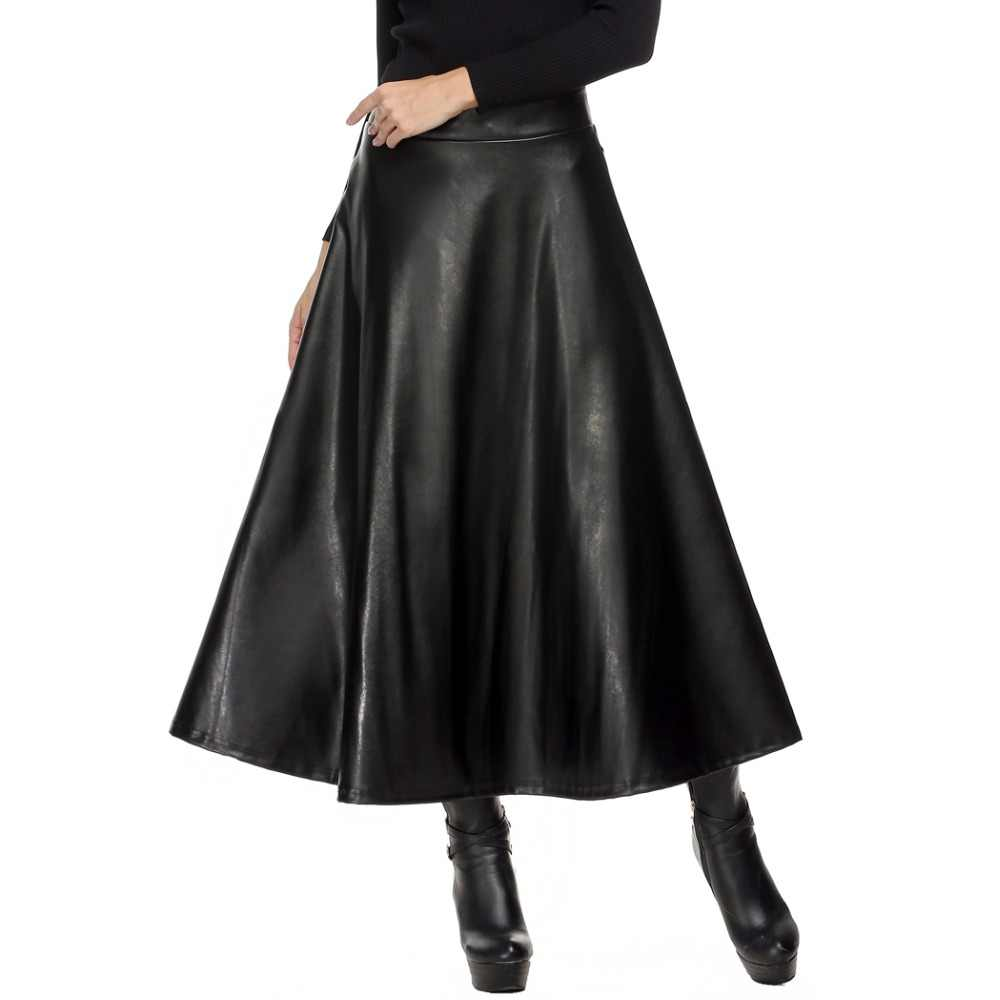 7f83ffb95b Women Skirt Folds PU Leather Skirt England Style Vintage Pleated Skirt Long  Casual Winter Plus Size