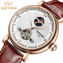 лучшая цена KINYUED Mechanical Mens Watches Top Brand Luxury Tourbillon Automatic Skeleton Watch Business Clock Waterproof Relogio Masculino
