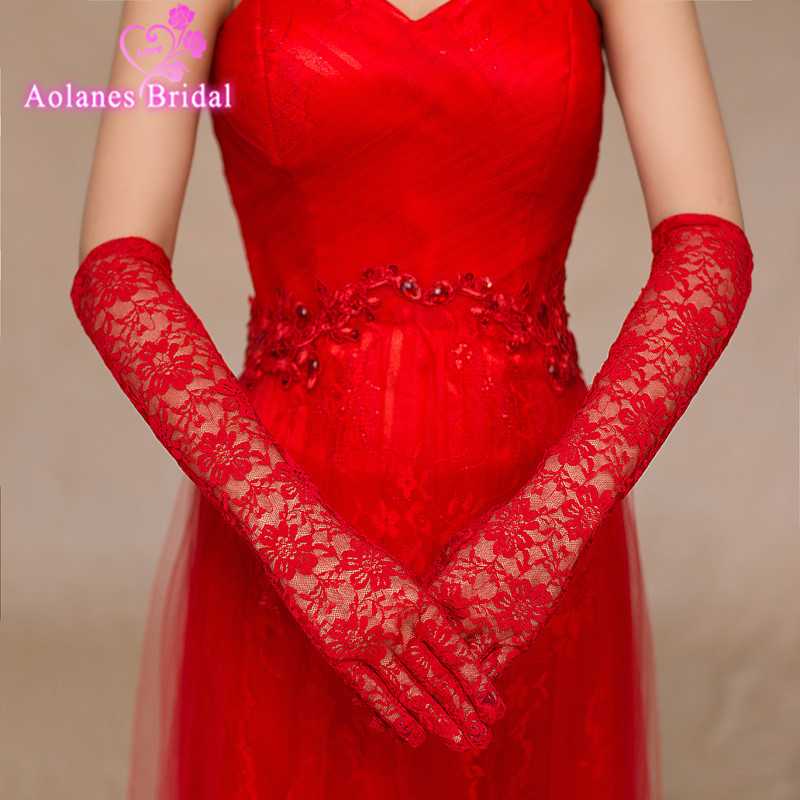 2017 Hot Lace Wedding Gloves Elbow Length Gants Mariage Red With Fingers Bridal Gloves Free Size In Stock