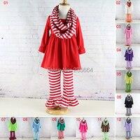 Winniefashions Outfits New Kids Striped Scarf Long Sleeve Ruffled Dress Pants Sets Ruffle Dress Pants Clothing