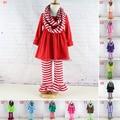 2016 Ropa de Mujer Ropa de New Kids Rayas 3 unids de Manga Larga Con Volantes ruffle dress top y pantalones conjuntos de ropa otoño invierno de la niña