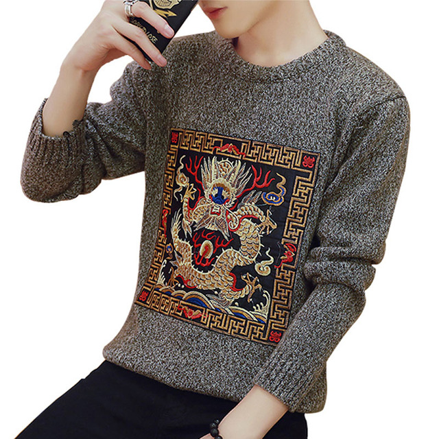 Estilo chinês do dragão bordado homem camisola 2017 novo inverno masculino plus size camisola básica fino outerwear adolescente meninos