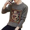 Estilo chino bordado dragón hombre suéter 2017 nuevos hombres de invierno más tamaño suéter básico prendas de vestir exteriores delgada adolescente niños