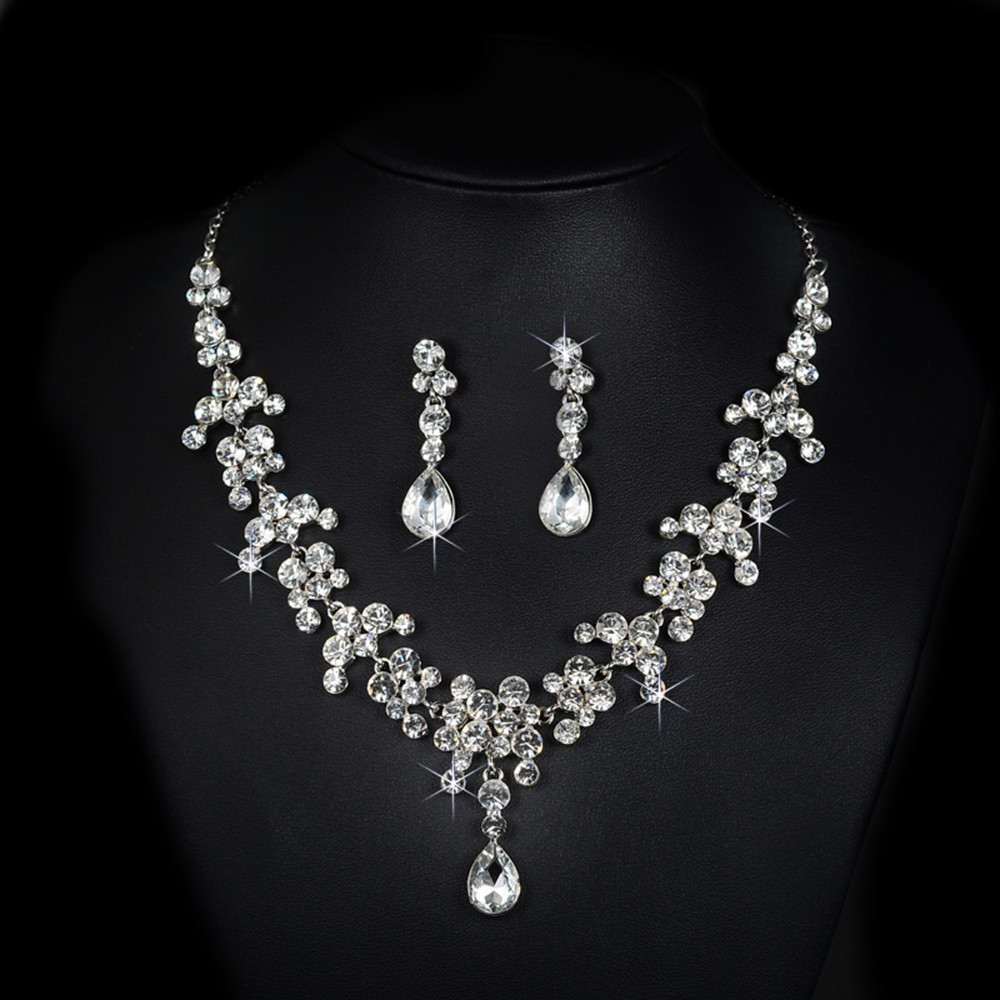 bridal jewelry set wedding dress pearl rhinestone necklace accessories women earrings silver plated luxurious party bijoux D026 (4)