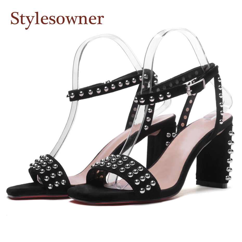 Stylesowner black suede leather fashion rivet gladiator sandals ankle buckle strap open toe chunky high heel women summer shoesStylesowner black suede leather fashion rivet gladiator sandals ankle buckle strap open toe chunky high heel women summer shoes