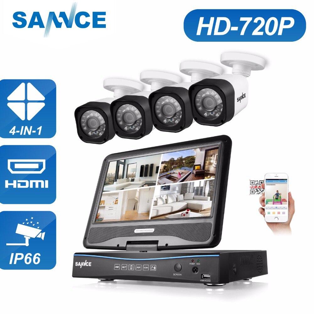 SANNCE 4CH 720 P CCTV Système 1080N DVR intégré 10.1 LCD moniteur avec 4 pcs 720 P 1.0 MP 1200tvl extérieure CCTV Caméras de Sécurité