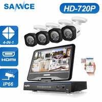 """SANNCE 4CH 720 1080P CCTV システム 1080N DVR 内蔵 10.1 """"液晶モニター 4 個 720 1080P 1.0 MP 1200tvl 屋外 CCTV セキュリティカメラ"""