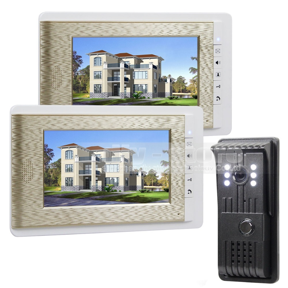 DIYSEUCR 700TVLine Video Door Phone Doorbell 7 inch TFT LCD Video Intercom LED Night Vision Door Camera Of Home Entry Intercom 7 inch video doorbell tft lcd hd screen wired video doorphone for villa one monitor with one metal outdoor unit night vision