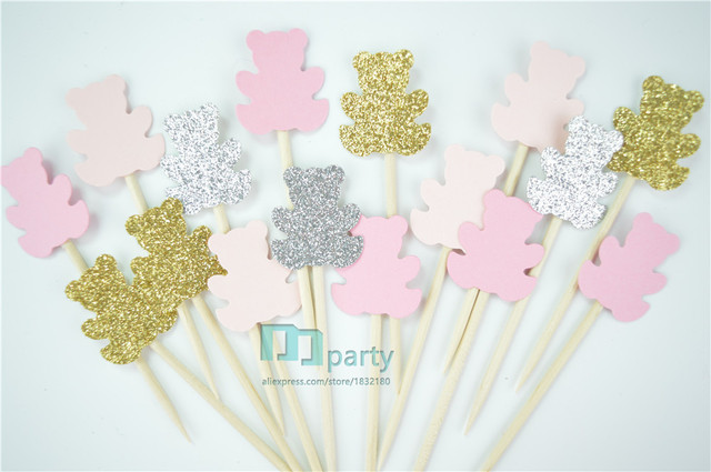 Us 3 6 20 Off 40pcs Teddy Bear Cupcake Toppers Gender Neutral Baby Shower Decoration Kids Party Favors Birthday Party Baby Shower Toppers In Cake