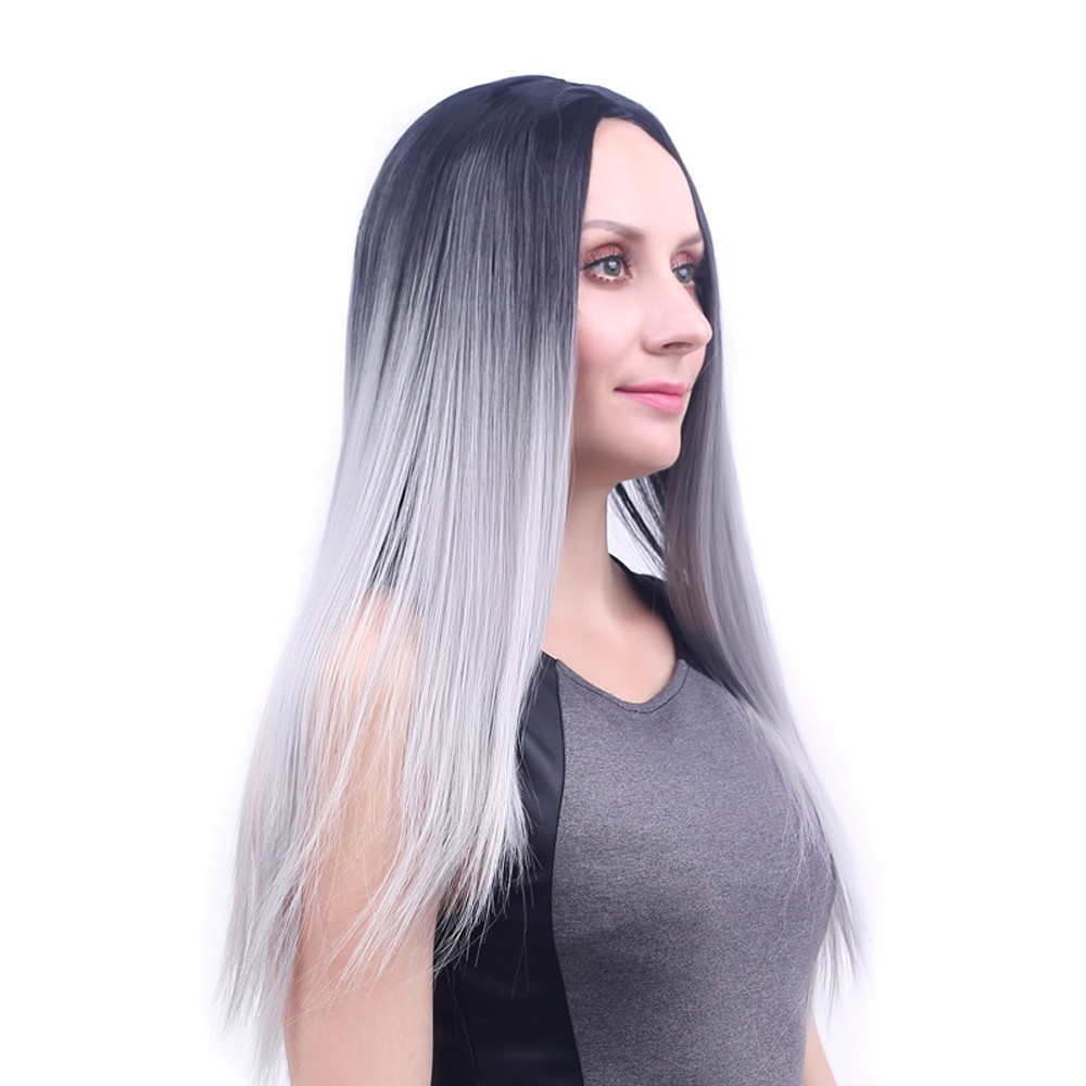Fashion Long Straight wigs front lace gray Similar to full lace wigs human hair with baby hair straight wigs for women 6623A