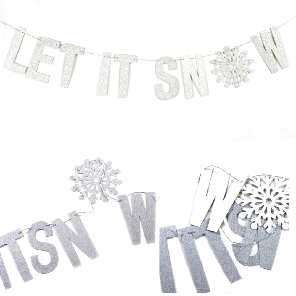 Glitter Silver Let It Snow Letter Banner Paper Gar...