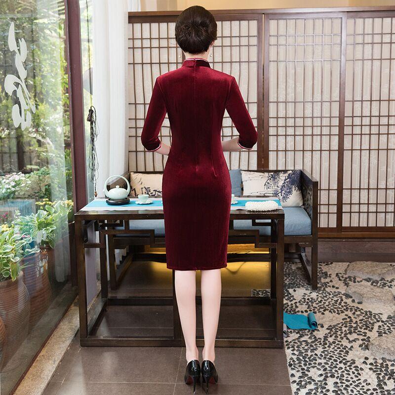 L Femmes S Robe bourgogne bleu Femelle 1973 Chinois Xxl Mode Longueur M Cheongsam Qipao Xl Velours La Mince Xxxl De pourpre Plus Genou 4xl Nouveauté Taille Noir qwWTPCEn