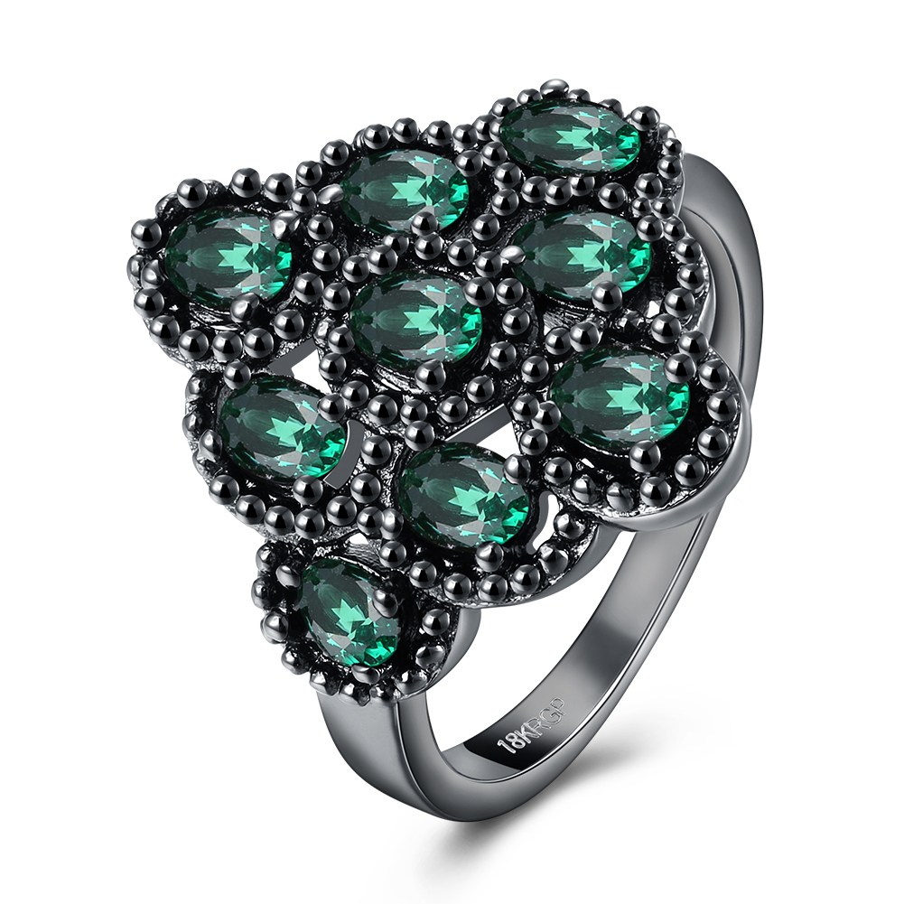 Luxury Cubic Zirconia Promise Ring Black Gun Color Hyperbolic CZ Big Green Flower Ring Micro Pave Engagement Ring For Women