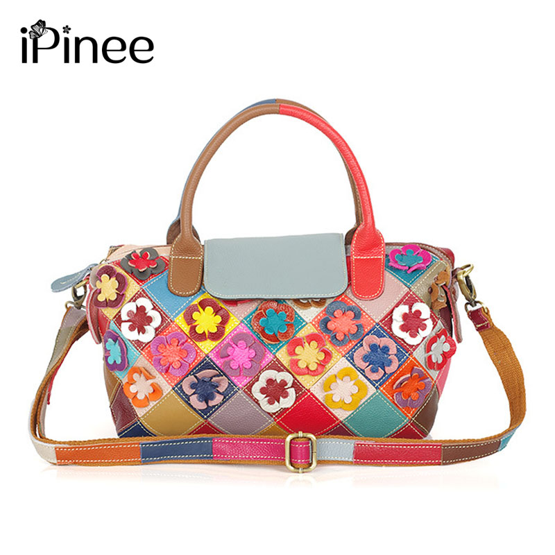 iPinee New Fashion Soft Real Genuine Leather Flower Women's Handbag Ladies Shoulder Tote Messenger Bag Purse Colorful Color 2016 hot selling new fashion 100% soft real genuine leather women handbag ladies shoulder tote bag satchel messenger bag quality