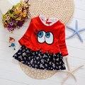 2016 новорожденных девочек одежда с длинным рукавом мода цветочные принцесса dress для детская одежда день рождения платья