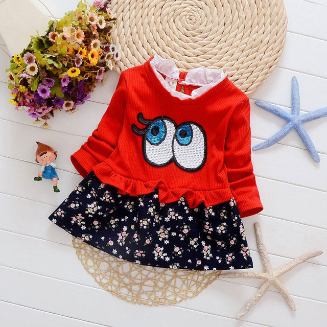 2016 newborn infant baby girls clothing long sleeve fashion floral princess dress for baby clothes birthday party dresses