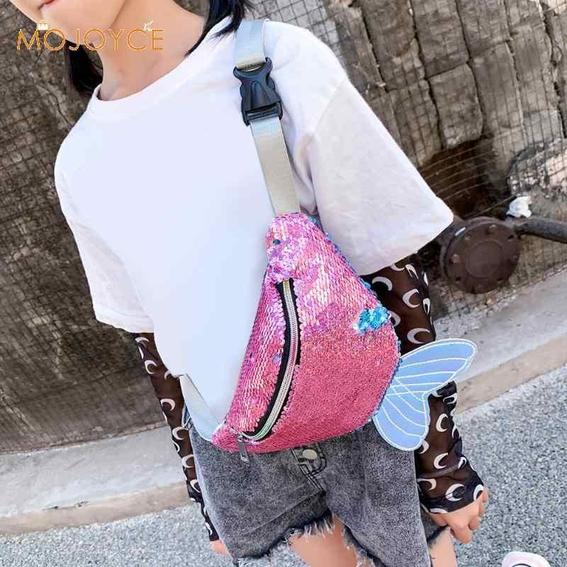 Paillettes femmes enfants épaule taille Fanny ceinture Packs poissons queue poitrine sacs enfants taille paquets bande dessinée téléphone poche livraison directe