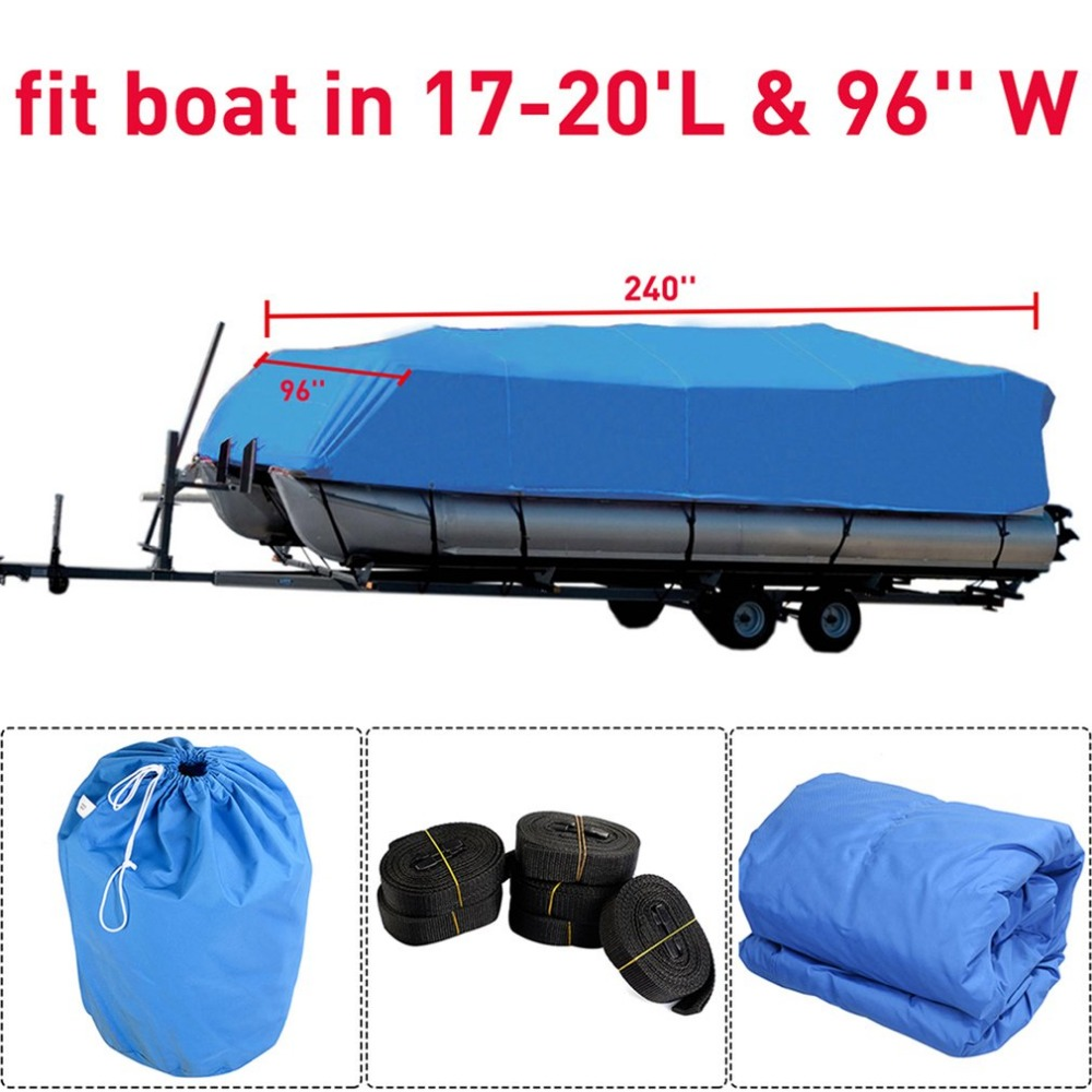 Durable 600D Oxford Waterproof Coated Fabric Heavy Duty Fabric Trailerable Pontoon Boat Cover Storage Tool Accessories image