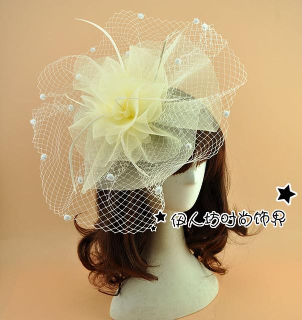 Grande Moda Acessórios Do Casamento Bege Casamento Chapéus Hot Sale Cheap Bridal Chapéu Chapéu Chapéu de senhora para a Festa de Casamento