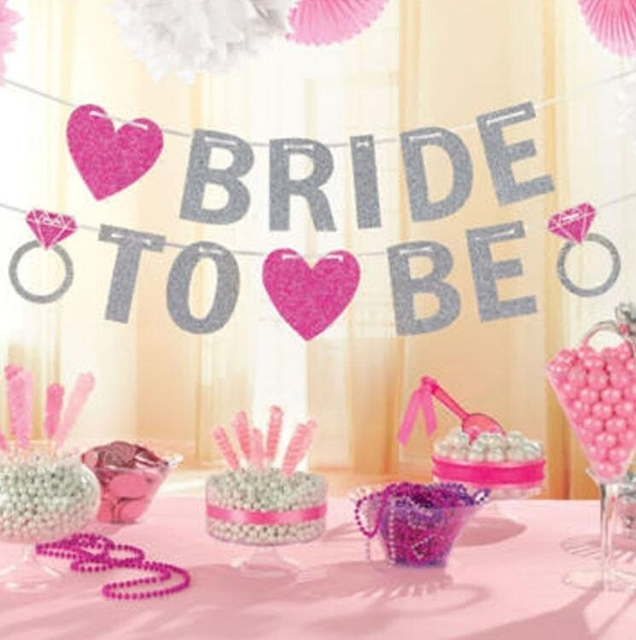 bride to be banner silver glitter garland wedding bridal shower bachelorette party hen party girls night