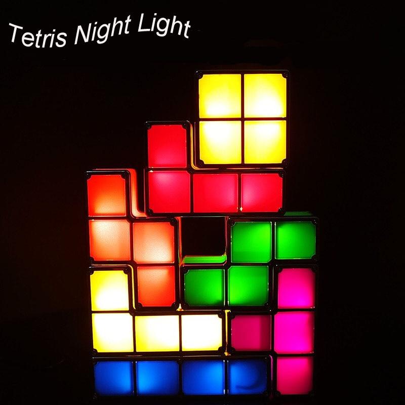 7Colors DIY Tetris Puzzle Light Stackable LED Desk Lamp