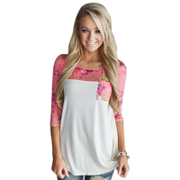 Floral T Shirt Women Fashion 3 4 Raglan Sleeve Tops Casual Loose Style Femme Stretch White