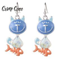 Cring Coco Cute Cat Fish Bone Jewelry Blue Enamel Fashion Girls Metal Statement Drop Earring Silver Dangle Earrings for Women