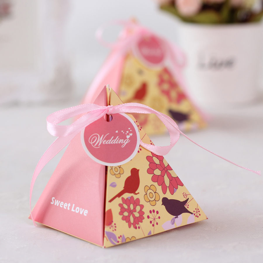 100pcs/lot Creative Colorful Wedding Favors Candy Box Pyramid Shape ...